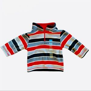 The Children's Place Fleece Jacket Red Black & Gray Striped Baby Size 6-9 Months